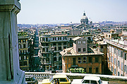 View over the city from the top of the Spanish Steps, Rome, Italy in 1974