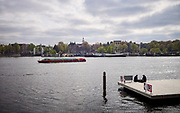 Relaxing on a pier in Amsterdam