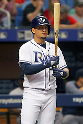 May 22, 2018 - St. Petersburg, FL, U.S. - ST. PETERSBURG, FL - MAY 22: Willy Adames (1) of the Rays steps into the batter's box during the MLB regular season game between the Boston Red Sox and the Tampa Bay Rays on May 22, 2018, at Tropicana Field in St. Petersburg, FL. (Photo by Cliff Welch/Icon Sportswire) (Credit Image: © Cliff Welch/Icon SMI via ZUMA Press)