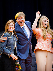 King Willem Alexander with Princess Amalia and Princess Alexia attending King's Day Celebrations in Groningen, Netherlands, on April 27, 2018. Photo by Robin Utrecht/ABACAPRESS.COM