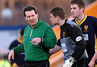 Picture: Henry Browne.<br />Date: 07/02/2004.<br />Wimbledon v Norwich City.<br /><br />Dons keeper Steve Banks pleads with ref Michael Ryan not to send him off.