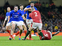Football - 2020 Guinness Six Nations Championship - Wales vs. France<br /> <br /> Gregory Alldritt of France attacks Ken Owens, of Wales  defends, at the Principality (Millennium) Stadium.<br /> <br /> COLORSPORT/WINSTON BYNORTH