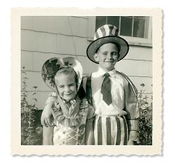Little girl as little Bo Peep, little boy as Uncle Sam costumes
