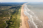 Nederland, Zuid-Holland, Katwijk, 15-07-2012; het strand bij Katwijk gezien naar Wassenaarseslag en Den Haag en Scheveningen aan de horizon..The coast and the beach near Katwijk in southern direction..luchtfoto (toeslag), aerial photo (additional fee required).foto/photo Siebe Swart