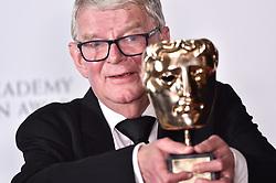 John Motson with his special BAFTA Award at the Virgin TV British Academy Television Awards 2018 held at the Royal Festival Hall, Southbank Centre, London.