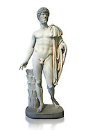 Roman staue of Lucius Verus with the idealised body of Diomedes, AD 160-170, inv 6095, Naples National Archaeological Museum, white background ..<br /> <br /> If you prefer to buy from our ALAMY STOCK LIBRARY page at https://www.alamy.com/portfolio/paul-williams-funkystock/greco-roman-sculptures.html . Type -    Naples    - into LOWER SEARCH WITHIN GALLERY box - Refine search by adding a subject, place, background colour, etc.<br /> <br /> Visit our ROMAN WORLD PHOTO COLLECTIONS for more photos to download or buy as wall art prints https://funkystock.photoshelter.com/gallery-collection/The-Romans-Art-Artefacts-Antiquities-Historic-Sites-Pictures-Images/C0000r2uLJJo9_s0