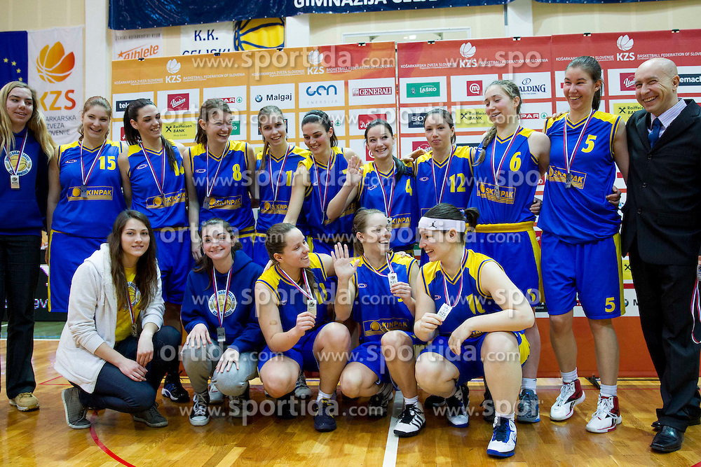 Players of Domzale after the basketball match between ZKK Athlete Celje and ZKK Domzale in final of Slovenian Women Basketball Cup 2013, on March 3, 2013 in Celje, Slovenia.  Celje defeated Domzale 79-59 and became Slovenian Cup Champion 2013. (Photo By Vid Ponikvar / Sportida)