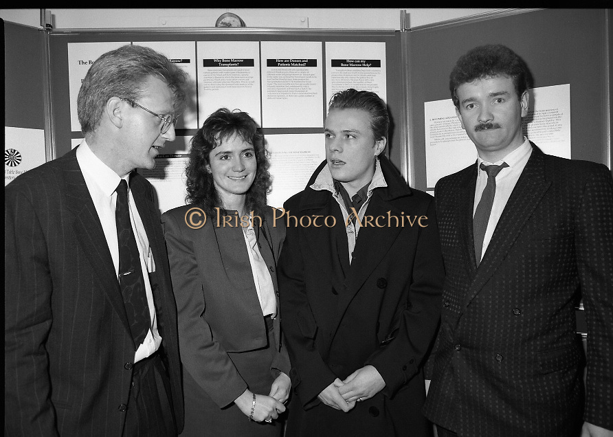 First Bone Marrow Register In Ireland.  (R97)..1989..01.03.1989..03.01.1989..1st March 1989..The Blood Transfusion Service launched the country's first bone marrow and platelet register. This register will bring hope to those who suffer from leukaemia and other blood disorders. When fully operational, the computerised register,will be used to provide tissue typed potential donors for the designated bone marrow transplant units at .St James's Hospital and Our Lady's Hospital both in Dublin...No caption sheet available