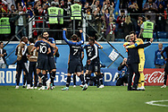 France players celebrate after winning the 2018 FIFA World Cup Russia, Semi Final football match between France and Belgium on July 10, 2018 at Saint Petersburg Stadium in Saint Petersburg, Russia - Photo Thiago Bernardes / FramePhoto / ProSportsImages / DPPI