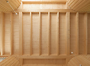 Wooden ceiling with exposed beams
