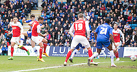Fleetwood Town's Gareth Evans watches the ball as he scores the only goal of the game<br /> <br /> Photographer Stephen White/CameraSport<br /> <br /> Football - The Football League Sky Bet League One - Gillingham v Fleetwood Town -  Friday 3rd April 2015 - MEMS Priestfield Stadium - Gillingham<br /> <br /> © CameraSport - 43 Linden Ave. Countesthorpe. Leicester. England. LE8 5PG - Tel: +44 (0) 116 277 4147 - admin@camerasport.com - www.camerasport.com