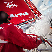 Leg 02, Lisbon to Cape Town, day 01, start on board MAPFRE. Photo by Ugo Fonolla/Volvo Ocean Race. 06 November, 2017