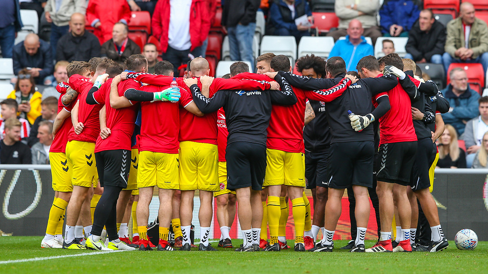 The Fleetwood Town team have a huddle before the match<br /> <br /> Photographer Alex Dodd/CameraSport<br /> <br /> The EFL Sky Bet League One - Sunderland v Fleetwood Town - Saturday September 8th 2018 - Stadium of Light - Sunderland<br /> <br /> World Copyright © 2018 CameraSport. All rights reserved. 43 Linden Ave. Countesthorpe. Leicester. England. LE8 5PG - Tel: +44 (0) 116 277 4147 - admin@camerasport.com - www.camerasport.com