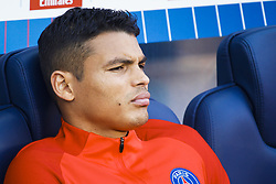 September 30, 2017 - Paris, France - Paris Saint Germain's Brazilian defender Thiago Silva looks on during the French Championship Ligue 1 football match between Paris Saint-Germain and Bordeaux at the Parc des Princes stadium in Paris on September 30, 2017. (Credit Image: © Geoffroy Van Der Hasselt/NurPhoto via ZUMA Press)