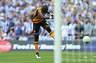 Mohamed Diame of Hull City shoots wide of goal. Skybet football league Championship play off final match, Hull city v Sheffield Wednesday at Wembley Stadium in London on Saturday 28th May 2016.<br /> pic by John Patrick Fletcher, Andrew Orchard sports photography.