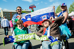 Fans of Slovenia prior to the Ice Hockey match between Slovenia and USA at Day 10 in Group B of 2015 IIHF World Championship, on May 10, 2015 in CEZ Arena, Ostrava, Czech Republic. Photo by Vid Ponikvar / Sportida