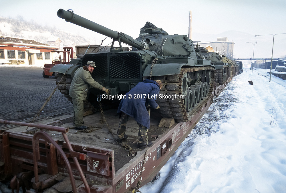 Fourtyfive rebuilt US Army Tanks arrive in Sarajevo, Bosnia as military aid for the Bosnian Army, March 1997. Training of the rebuilt army will be done by a Private Military Contractor, MPRI.