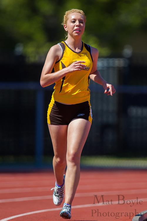 Rowan University freshman Laura DuBois competes in women's 10,000 meters at the NJAC Track and Field Championships at Richard Wacker Stadium on the campus of  Rowan University  in Glassboro, NJ on Saturday May 4, 2013. (photo / Mat Boyle)