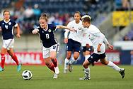 Kim Little (#8) of Scotland takes on Anastasiya Novikova (#6) of Belarus during the FIFA Women's World Cup UEFA Qualifier match between Scotland Women and Belarus Women at Falkirk Stadium, Falkirk, Scotland on 7 June 2018. Picture by Craig Doyle.