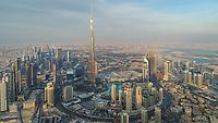 Aerial view of Burj Khalifa Tower and skyscrapers in Dubai, United Arab Emirates.