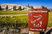 Stay off meadows sign, Tuolumne Meadows, Yosemite National Park, California USA