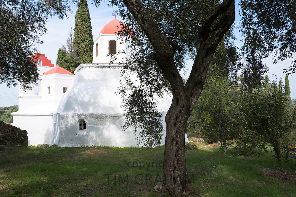 Whitewashed Greek Orthodox church at Nimfes, Nymfes, by olive tree grove in Northern Corfu,  Greece