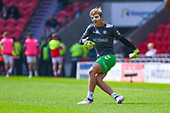 Ashley Maynard-Brewer of Charlton Athletic (31) warming up with a face mask on during the EFL Sky Bet League 1 play off first leg match between Doncaster Rovers and Charlton Athletic at the Keepmoat Stadium, Doncaster, England on 12 May 2019.