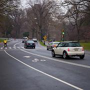 Traffic in Central park in spring