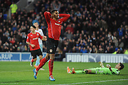 Cardiff City's Fraizer Campbell reacts after missing an easy goal chance during the Barclays Premier league, Cardiff city v West Ham Utd match at the Cardiff city Stadium in Cardiff, South Wales on Saturday 11th Jan 2014.<br /> pic by Jeff Thomas, Andrew Orchard sports photography.