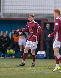Stenhousemuir's Connor Duthie. Stenhousemuir 1 v 0 Airdrie, Scottish Football League Division One played 26/1/2019 at Ochilview Park.