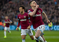 Football - 2018 / 2019 Premier League - West Ham United vs. Newcastle United<br /> <br /> Declan Rice (West Ham United) turns away after scoring the opening goal at the London Stadium<br /> <br /> COLORSPORT/DANIEL BEARHAM