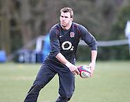 Tom Croft of England passes the ball during the England elite player squad rugby training session at Pennyhill Park, Bagshot, Surrey, UK on 11 March 2011. The England team play Scotland on Sunday 13th March at Twickenham. (Photo by Andrew Tobin/Focus Images)