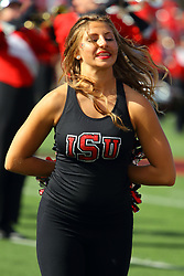 21 October 2017:   Redline Dancer during the South Dakota Coyotes at Illinois State Redbirds Football game at Hancock Stadium in Normal IL (Photo by Alan Look)
