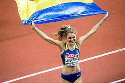 Third placed Yuliya Levchenko of Ukraine celebrates after  the High Jump Women Final on day two of the 2017 European Athletics Indoor Championships at the Kombank Arena on March 4, 2017 in Belgrade, Serbia. Photo by Vid Ponikvar / Sportida