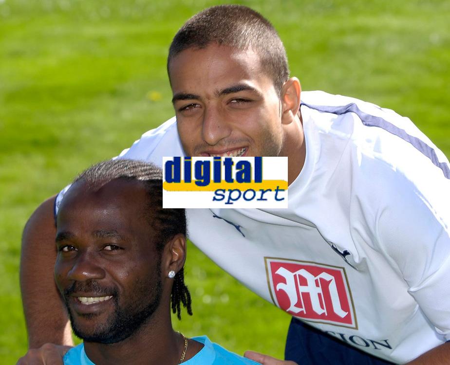 Photo: Daniel Hambury.<br />Tottenham Hotspur press conference. 07/09/2006.<br />New Spurs signings Pascal Chimbonda (L) and Mido (R).