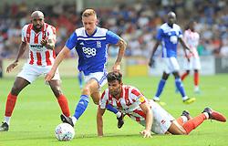 Charlie Lakin of Birmingham City gets past Connor Thomas  of Cheltenham Town- Mandatory by-line: Nizaam Jones/JMP - 21/07/2018 - FOOTBALL - Jonny-Rocks Stadium - Cheltenham, England - Cheltenham Town v Birmingham City - Pre-season friendly