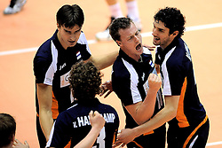 29-05-2010 VOLLEYBAL: EK KWALIFICATIE MACEDONIE - NEDERLAND: ROTTERDAM<br /> Nederland wint met 3-0 van Macedonie en plaatst zich voor de volgende ronde / Wytze Kooistra, Jeroen Rauwerdink en Niels Klapwijk<br /> ©2010-WWW.FOTOHOOGENDOORN.NL