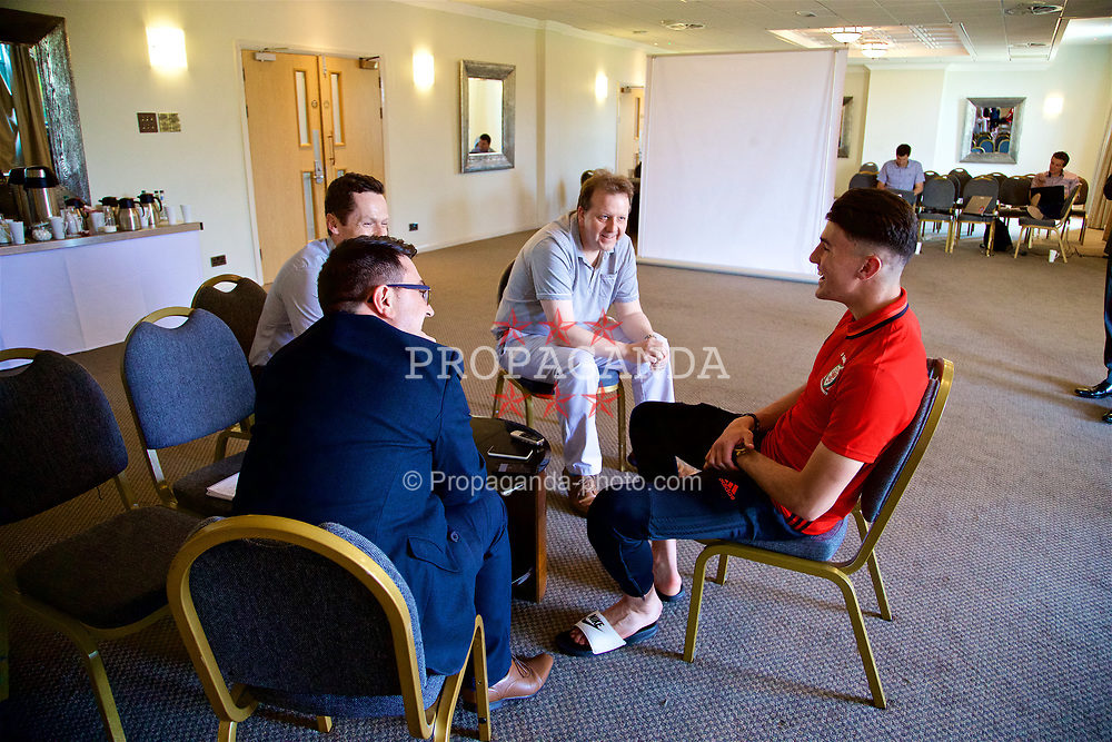 CARDIFF, WALES - Thursday, May 25, 2017: Wales and Manchester United defender Regan Poole is interviewed by reporters at the Vale Resort ahead of Wales' first participation in the prestigious Festival Espoirs de Toulon (Toulon Tournament). (Pic by David Rawcliffe/Propaganda)
