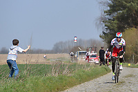 Alexander KRISTOFF (Nor) Team Katusha (Rus) throwing bottle at fan during training on april 9 prior to the famous cycling race Paris Roubaix with paving stones paths which will take place on april 12, 2015 - Photo Tim de Waele / DPPI