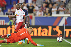 May 27, 2017 - Harrison, New Jersey, U.S - New York Red Bulls forward BRADLEY WRIGHT-PHILLIPS (99) back heels the ball into the goal past New England Revolution goalkeeper CODY CROPPER (1) at Red Bull Arena in Harrison New Jersey New York defeats New England 2 to 1 (Credit Image: © Brooks Von Arx via ZUMA Wire)