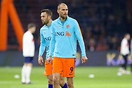 Netherlands forward Bas Dost (Sporting Lisbon) in warm up during the Friendly match between Netherlands and England at the Amsterdam Arena, Amsterdam, Netherlands on 23 March 2018. Picture by Phil Duncan.