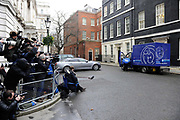 New cat called Larry, the Downing Street cat arrives for the first time amid media coverage and high security in a Battersea Cats and Dogs home van to the home of the Prime Minister.
