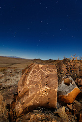 Pictograph and night sky, Ladder Ranch, west of Truth or Consequences, New Mexico, USA.