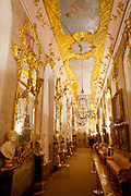 Highly decorative Baroque gold gilding in the interior of Sans Souchi Palace, Potsdam, Brandenburg, Germany.