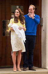 File photo dated 02/05/2015 of The Duke and Duchess of Cambridge and the newborn Princess of Cambridge as the royal couple will be waiting on tenterhooks to see if their new baby is a boy or a girl Ð as they do not know their childÕs gender.