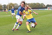 Brighton & Hove Albion forward Aileen Whelan (7) takes on Everton midfielder Megan Finnigan (20) during the FA Women's Super League match between Everton Women and Brighton and Hove Albion Women at the Select Security Stadium, Halton, United Kingdom on 18 October 2020.