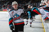 KELOWNA, BC - JANUARY 3:  Mark Liwiski #9 of the Kelowna Rockets celebrates a second period goal against the Victoria Royals at Prospera Place on January 3, 2020 in Kelowna, Canada. (Photo by Marissa Baecker/Shoot the Breeze)