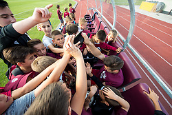 Rok Elsner of Triglav with young fans after winning during 2nd Leg football match between NK Triglav Kranj and NS Drava Ptuj in Qualifications of Prva Liga Telekom Slovenije 2018/19, on June 6, 2018 in Kranj, Slovenia. Photo by Vid Ponikvar / Sportida