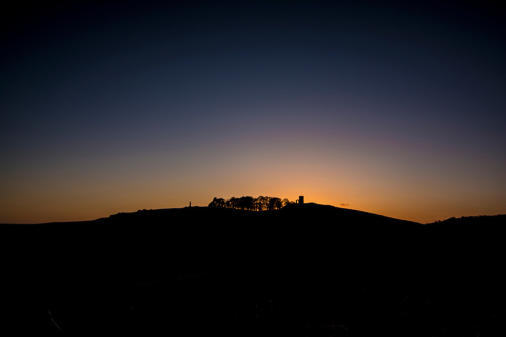 The sun setting behind Old John, Bradgate Park, Leicestershire.