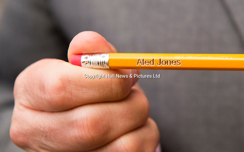10 October 2017: Cleethorpes Academy Presentation Evening at Grimsby Auditorium. The guest speaker was Aled Jones MBE who presented the awards and also visited the Academy earlier in the day.<br /> Faith Love, Elisha Appleton and Amelia Hooper all year 11 who laser etched Aled's name on pencils.<br /> Picture: Sean Spencer/Hull News & Pictures Ltd<br /> 01482 210267/07976 433960<br /> www.hullnews.co.uk         sean@hullnews.co.uk